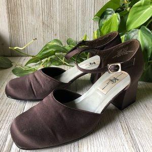 🌿5/$30 Vintage Satin Block Heels with Ankle Strap